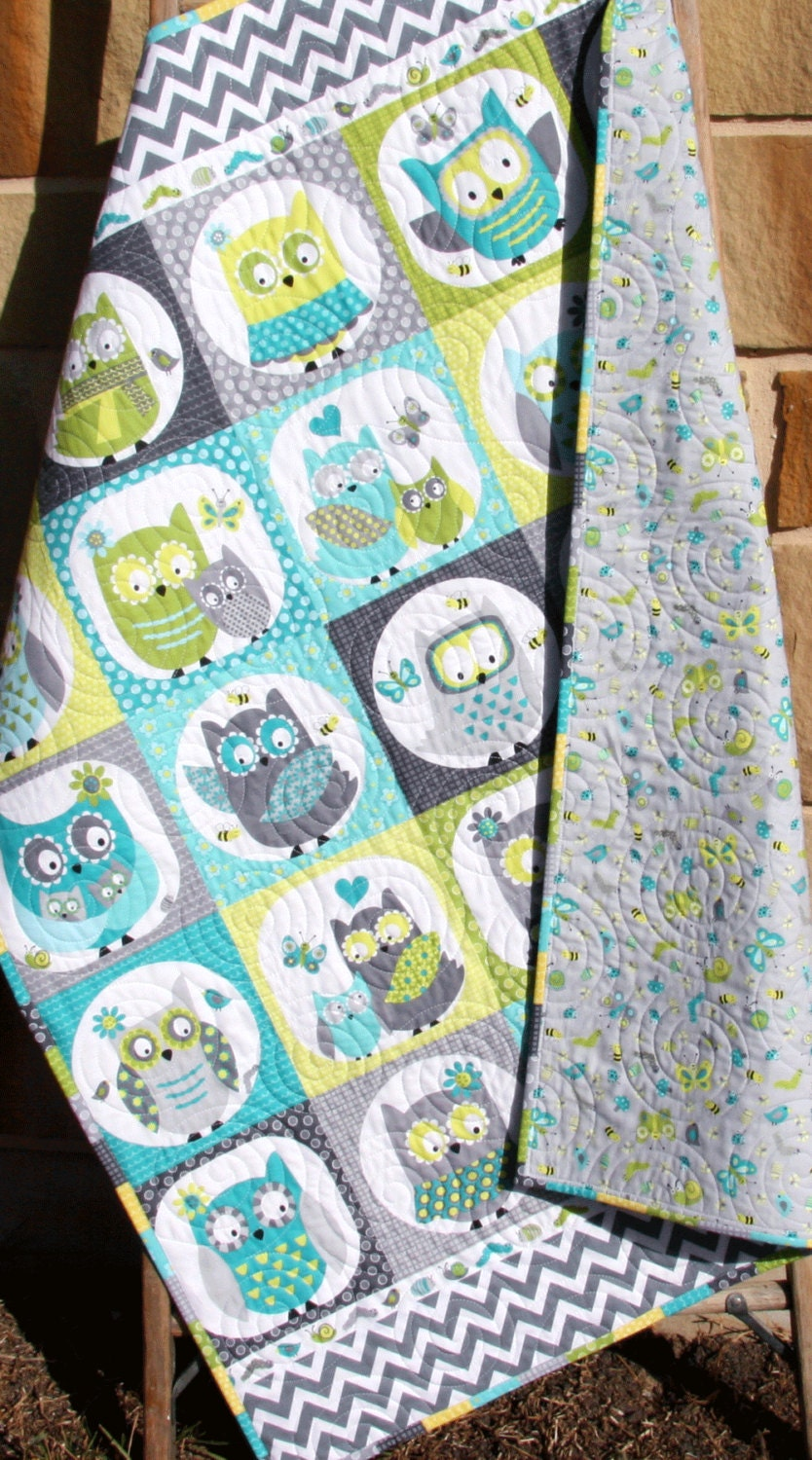 Owl Baby Quilt Boy Patchwork Bedding Blanket Nursery Crib