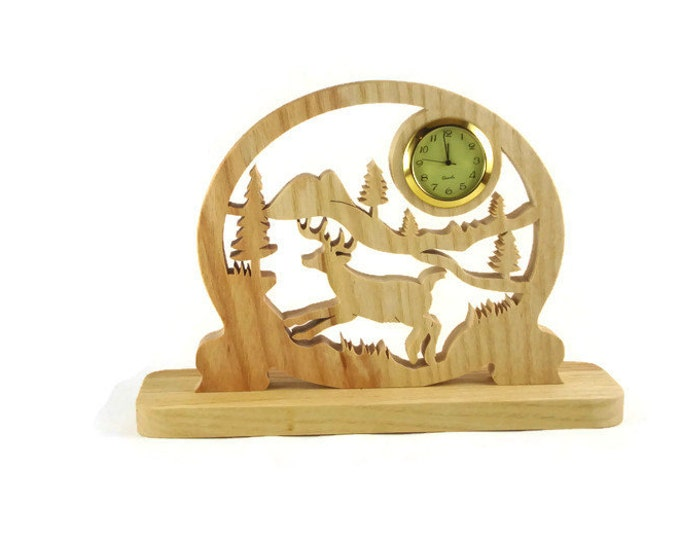 Deer Country Scene Desk Or Shelf Clock Handmade From Ash Wood By KevsKrafts Woodworking