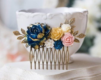 Gold Navy Blue Pink Ivory Floral Bridal Hair Comb, Wedding Hair Comb, Antiqued gold leaf branch Comb, Country Barn Wedding Hairpiece