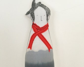 Woman doll , handmad cloth portrait doll - Soft sculpture doll short hair hipster mom ,in Ombre  gray shirt , red scarf and a dottedskirt