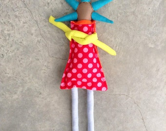 Stuffed Doll - urban brown funky handmade doll with turquoise spikes Haircut in red with pink dots dress neon green sleeve &Pale Blue tights