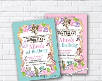 Alice in wonderland invitation, Birthday Invitation, Alice Mad tea party first birthday 1st 2nd 3rd 4th 5th 6th 7th 8th 9th 10th - card 860
