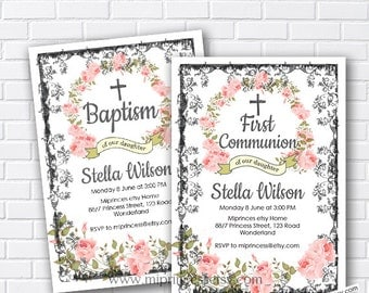 baptism invitation, first communion invitation, Baptism Invite, Floral Wreath Baptism Invitation pink flowers for girl - card 371