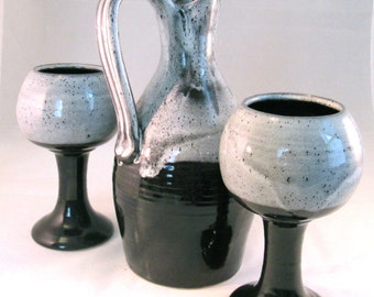 Wine Serving Set - Handmade Pottery Decanter and Two Goblets Glazed in Glossy Black ,Grey and White
