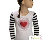 CHILD (White) Striped Valentine's Long Sleeve Leotard