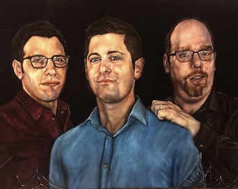 Custom Black Velvet Portrait - Corporate or Board Member Gift 16 x 20 inches