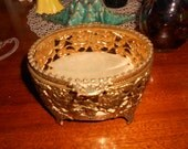 Vintage 1950's Beveled Glass Filigree Gold Tone Trinket / Jewelry Box with Velvet Lining Jewelry Casket