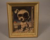 Pity Puppy by Gia Winde Fine Prints Art Sad Big Eyed Dog Vintage 1960's Gig 8X10 Framed E7