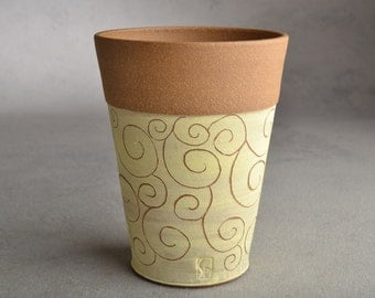 Carved Curls Tumbler Ready To Ship Brown and Yellow Carved Stoneware Tumbler by Symmetrical Pottery