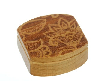 "Lace Wooden Box, Solid Cherry, Pattern MS14 Lace, 1-3/4""L x 1-7/8""W x 7/8""D, Paul Szewc"