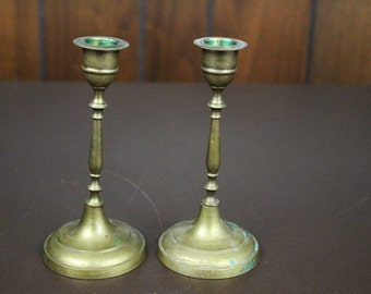 Vintage Brass Candle Stickes - Pair