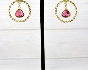 Ruby Earrings, Statement Earrings, Gold Earrings, Boho Earrings, Drop Earrings, July Birthstone, Gifts Under 30, Womens Gift, Bohemian
