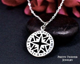 Compass Necklace Sterling Silver | Compass Charm Necklace | Not All Those Who Wander are Lost | Enjoy the Journey | Simple Charm Necklace