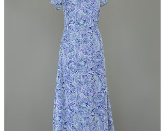 Vintage 1990s Dress Boho Maxi Dress Pastel Paisley Dress Layered Chiffon Dress Flutter Sleeve 90s Dress Bohemian Dress Long Summer Dress (M)