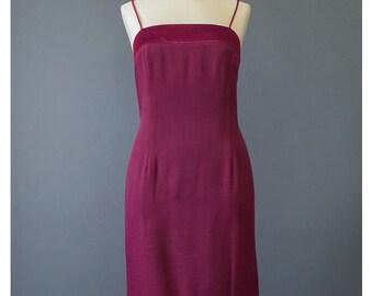 Vintage Party Dress - Slip Dress - 90s Dress - Grunge Dress -  Burgundy Dress - Cocktail Dress - Club Dress - Goth Dress - 1990s Mini Dress