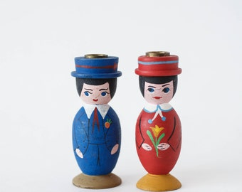 Vintage Wood Hand Painted Candleholders Scandinavian Man Woman Cute Cottage Decor