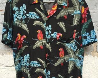 1960's Hawaiian Shirt Hand Screened Sz M