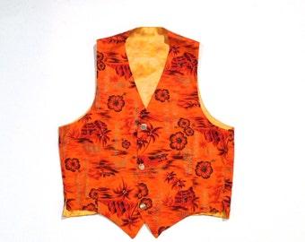 Hawaiian Shirt Vest Vintage Orange Hawaii Tropical Print Vest Metallic Print Canoe Boat Hibiscus Floral Tiki Luau 1960s does 1980s Surfer