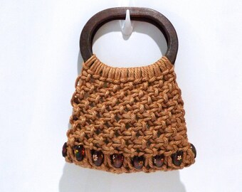 Macrame Bag Vintage Beaded Hand Knotted Purse 1970s 1980s Macrame Handbag Painted Wood Beads Knot Cord Tote Summer Boho Hippie Resort Gypsy