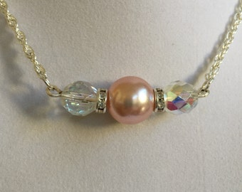 Bridal Pearl and Crystal Necklace