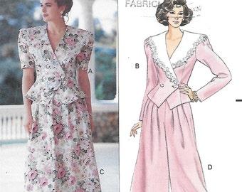 Butterick 5311 Jessica Howard Women's 90s Top, Skirt & Split Skirt Sewing Pattern Size 6, 8, 10 Bust 30 1/2, 31 1/2, 32 1/2