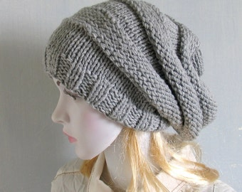 Oversized slouch hat chunky cowl hood scarf set pearl, grey,silver,Mens/Womens Knitted Cowl Hat Hand Knit Hat