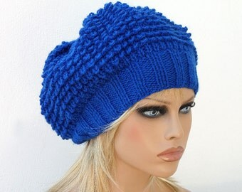 Women Knit Berets, Womens Royal Blue knit winter hats, Slouchy hat, Womens Knit Hat, Hand knit hat for women, Knit Fall Blue shunky beret