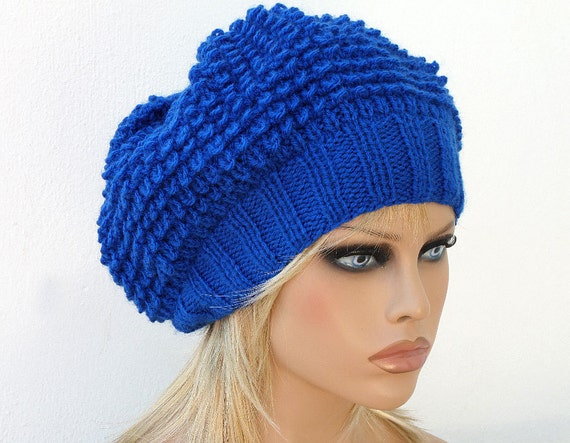 Women Knit Berets Womens Royal Blue knit winter hats Slouchy
