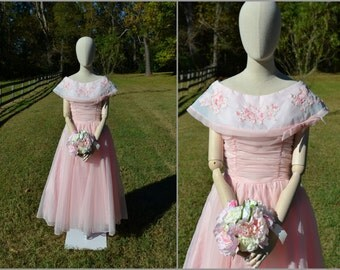 1950s Sylvia Ann Pink Chiffon Dress