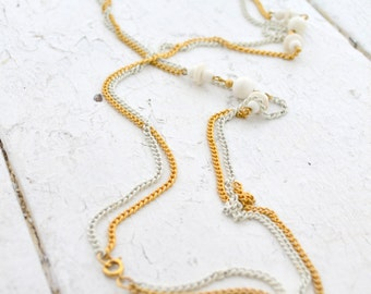 1960s Double Chain and Bead Necklace