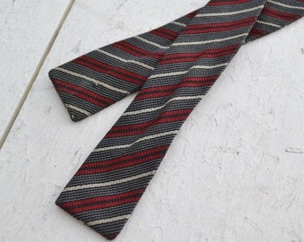 1950s Red and Black Striped Silk Bow Tie