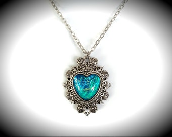 Baroque Aqua Glass Opal Edwardian Heart Filigree Necklace