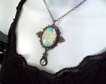 Color-Shift Muted Rainbow Opalite Edwardian Filigree Necklace