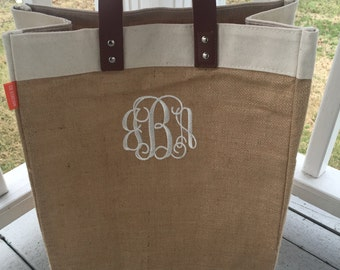 Monogrammed Jute Market Bag Tote
