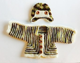 READY TO SHIP Hunter Cardigan and Hat Set, Camo and Cream colors, wooden buttons, earflap hat, size 0-3 months