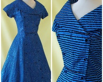 Striking 1950s Cocktail Dress / 50s Evening Dress / Glitter Flocked Striped Blue Taffeta / Double Breasted Detail / Princess Seams / S Small