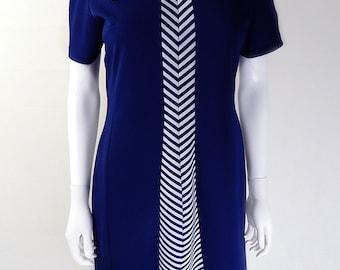 Original Vintage 1970s Navy Chevron Day Dress UK Size 12