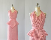 Vintage 50s Dress/ 1950s Cotton Dress/ Red & White Striped Cotton Wiggle Dress w/ Peplum L