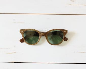 Vintage 50s Sunglasses/ 1950s Cat-eye Sunglasses/ Brown Confetti Cat-eye Sunglasses