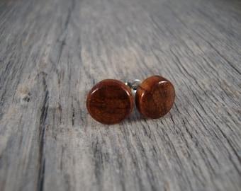 Wood Stud / Post Earrings - light brown Bubinga Wood - Great Gift Idea