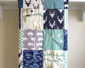 Baby Quilt Woodland - Bear Country - Boy, Deer, Gray, Aqua, Navy, Mint, Black, Cream, Dandelion Puff, Birds, Crib, Nursery Bedding, Handmade