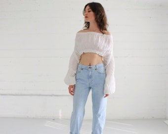 """levis jeans, levi 550 high waisted related fit jean, 80s, light blue wash, womens 4-6 27"""""""