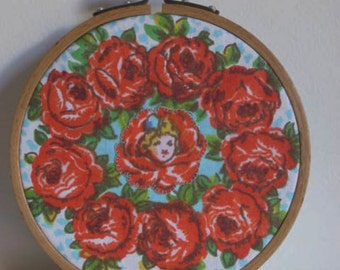 Embroidery Hoop Wall Art. 'Happiness Collage' Vintage Fabric. Gorgeous Red Roses surround Applique of 'Flower Girl'.