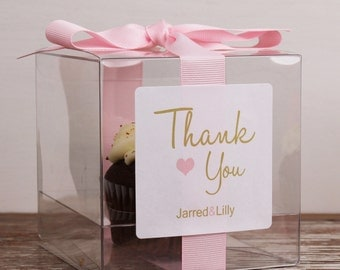 8 - Wedding Favor Cupcake Boxes - Thank You Design - ANY COLOR- wedding favors, wedding cupcake box, personalized cupcake box, thank you box
