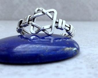 sterling silver STAR of DAVID ring, handcrafted judaica ring, magen david, david shield, jewish star,handmade ring,  size 5,6,7,8,9,10, 1/2