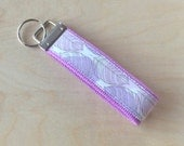 Fabric wristlet keychain, key fob - Purple Leaves