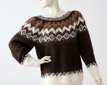 alpaca sweater,  vintage fair isle knit pullover, ski sweater