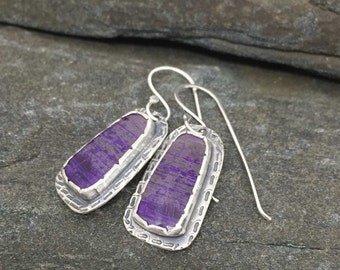 Purple Sugilite Earrings, Sterling Silver, Artisan Made Earrings, AAA Purple Gemstones, Feminine Earrings, Royal Purple Dangles, Handcrafted