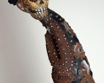 RESERVED FOR DEBBIE Dia de Los Metros Sculpture, Day of the Dead Skeleton Figure