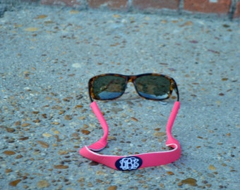 Monogrammed Sunglass Strap Pink Coral - Graduation Gift - Sweet 16 - Preppy